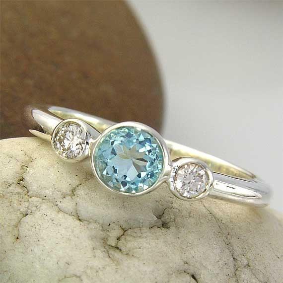 Blue Topaz and Swarovski Silver Ring. Blue Topaz and Swarovski, 925 Sterling Silver Ring.