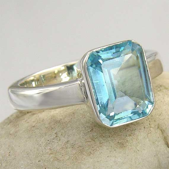 Large Blue Topaz Ring. Emerald Cut Blue Topaz Solitare Ring in Sterling Silver - made to order in your ring size