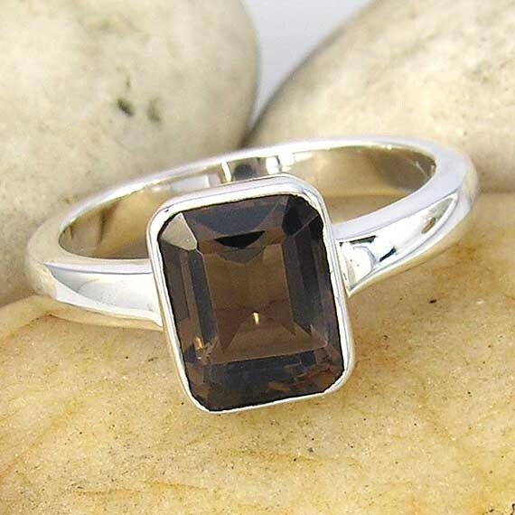 smoky quartz and sterling silver solitaire ring by chadasoph
