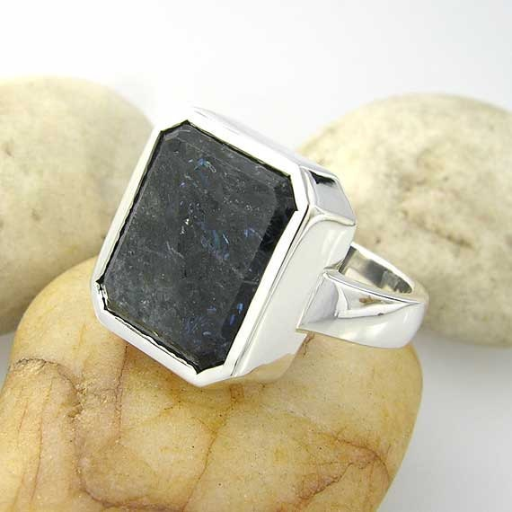 Rare Natural Nuummite Sterling Ring - Rare and One of a Kind - Ring Size 8.5 US
