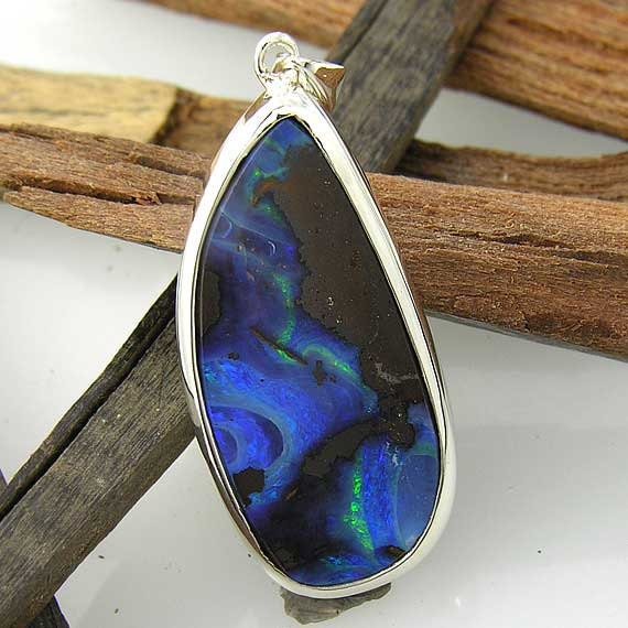 Handmade Boulder Opal 925 Sterling Silver Pendant - hand made - 100% one of a kind