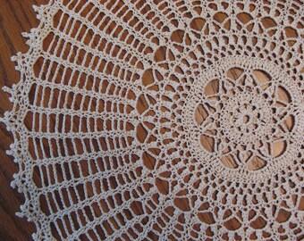 Crochet 15 inch round ecru doily-Gracious