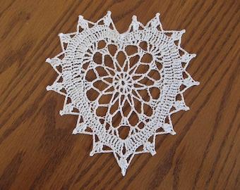 Crochet 6 inch heart doily