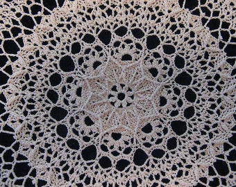 Impressive round crochet 20  inch ecru doily