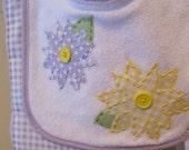 Baby Bib - Spring Flowers Purple and Yellow Baby Bib & Burp Cloth Set