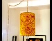 Groovy 70's Vintage Velvet Chandelier Hanging Light Fixture