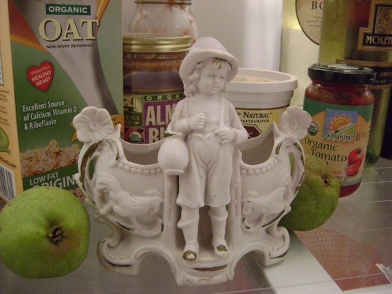 Bisque Vase with Little Boy and Roosters
