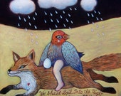 """Prints on wood of """"We Shall Sail into the Night"""" by Isabelle Bryer 5"""" x 5"""""""