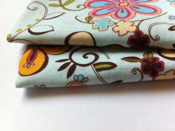 Cloth Napkins, Set of 2, Mod Flower Design with Striped Backing