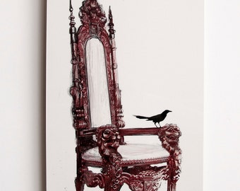 """Your Royal Highness--A 10"""" x 20"""" illustration of a black bird perched upon an ornate Victorian red throne infused onto high-gloss alluminum"""