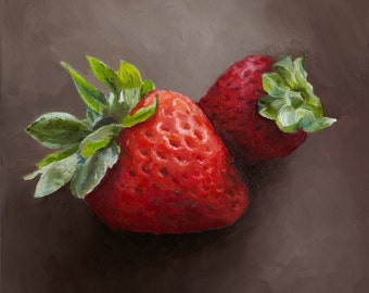 Giclee, Archival, Matted Print of an Original Oil Painting of Strawberries