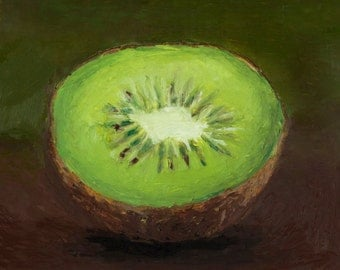 A Custom Framed Original Oil Pastel Painting of a Kiwi Fruit on an Olive Green and Brown Background