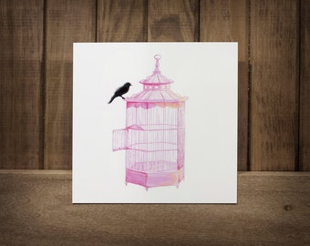 """PRETTY smart BIRD-----An Illustration of a black bird perched upon a pink bird cage Infused onto a 8"""" High Gloss Metal Square"""