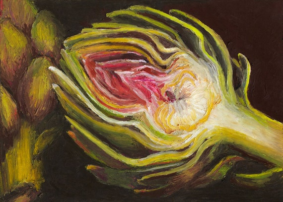 Giclee, Archival, Matted Print of an Original Oil Pastel Painting of a halved Artichoke