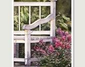 Original Painting Print, Garden Fine Art Print, 5x8 Print, Watercolor Art, Flower Painting