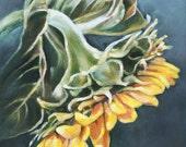 Sunflower Print, Flower Print, 8x8 Painting, Yellow and Blue Art Print, Home Decor, Summer Flower Print, Sunflower Painting