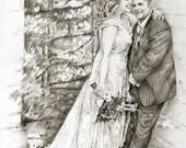 Wedding Portrait, Wedding Sketch, Wedding Thank You Cards, 8x10 Sketch, Custom Portrait Sketch, Portrait Art, Portrait Sketch