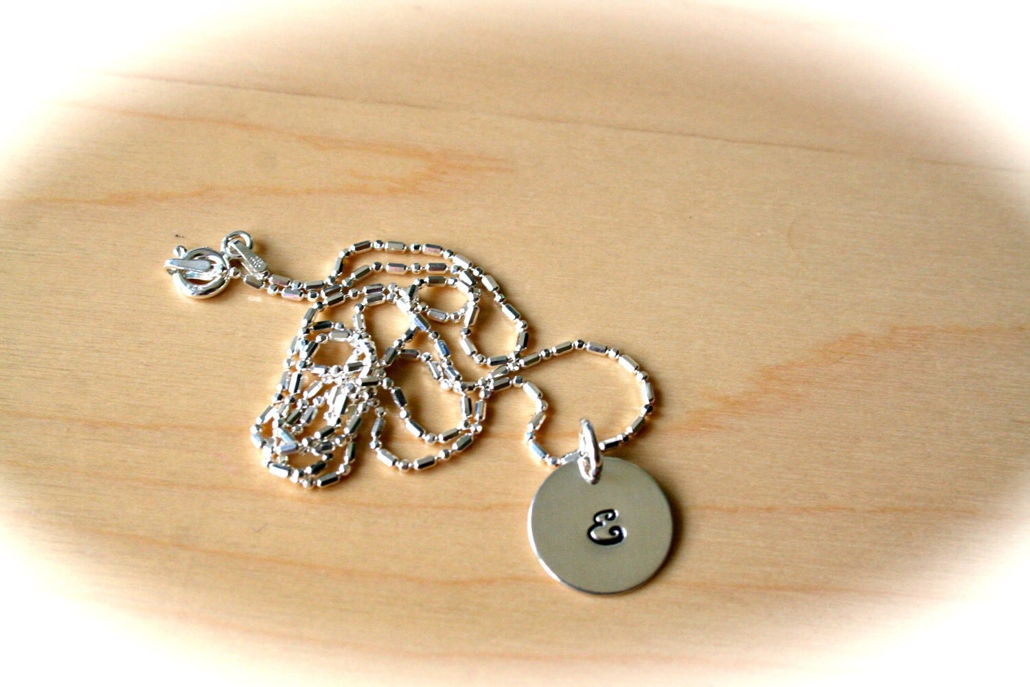 SIngle Initial or Design Sterling Silver Hand Stamped Necklace