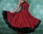 50's vintage dress full skirt red black white polka dots Retro dress Tailor Made