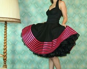 50's vintage dress full skirt black Corsage Style dress with pink ribbons Pinup retro Tailor Made