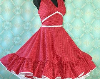 50's vintage dress red Polka Dorts romantic full skirt Pin Up Retro dress tailor made
