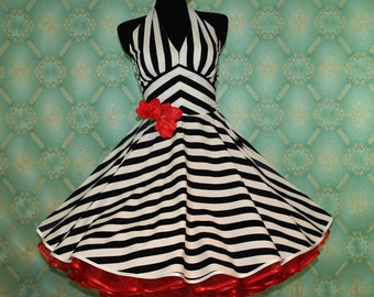 50's vintage dress striped marine white navy Pin Up Look retro dress tailor made