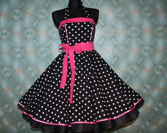 50's vintage dress full skirt black white pink polka dots Retro Dress Tailor Made