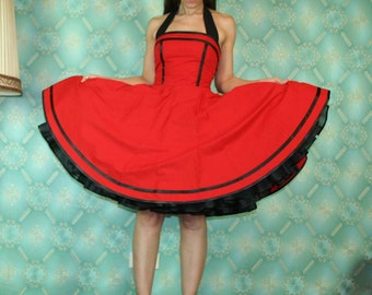 50's vintage dress full skirt classic design in red with black satin ribbons tailor made