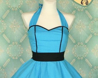 50's vintage dress full skirt light blue turquoise polka dots dress rare Tailor Made after your measurements