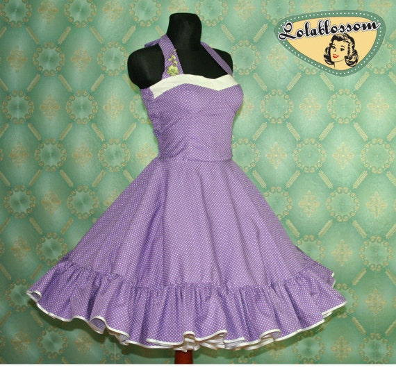 50's vintage dress full skirt Polka Dots purple white Hot Pin Up cut Tailor Made