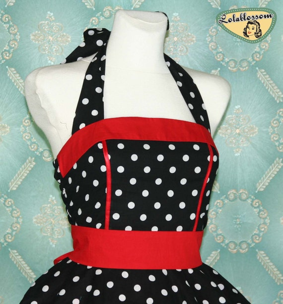 50's vintage dress full skirt black white red dots dress rare Tailor Made after your measurements