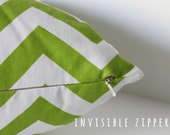 green and white chevron pillow cover with invisible zipper 18X18 inch