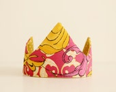 Birthday Crown - Fabric Crown - Dress up - Kids' Queen Costume - Reversible Fabric