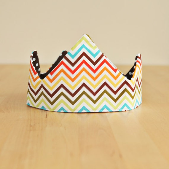 Birthday Crown - Fabric Crown - Zig Zag Chevron Polka dots - Kids' Costume - Reversible Fabric - Ready to Ship - Gifts under 25