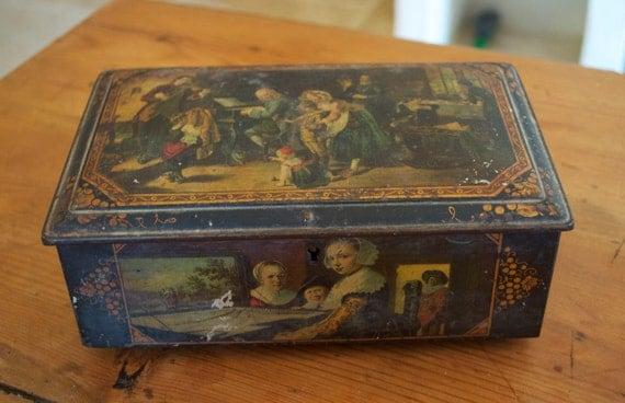 Very Old Renaissance Scene Biscuit Tin