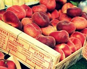 French Peaches in Wooden Crate At Paris Market - Fine Art Travel Photography - 8x10 Print