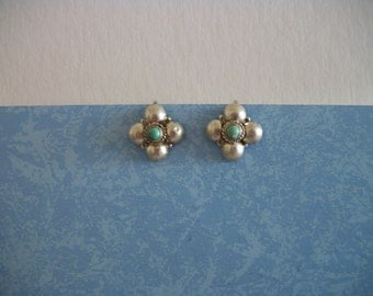 Silver Plated Turquoise Screw On Earrings  FREE SHIPPING