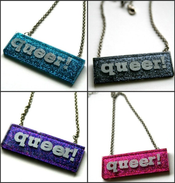 QUEER on PINK Letterpress Large Glitter Resin Necklace