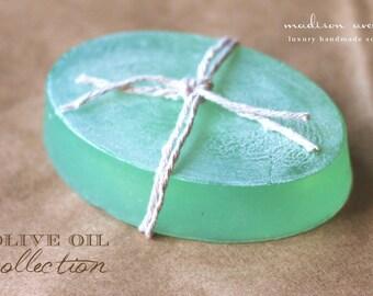 Handmade Rich  Olive Oil Spa Soap Bar in Cucumber Melon Cucumber mint, peppermint  or Cucumber Rose Scent