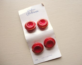 SALE :) set of four vintage red glass buttons on original card