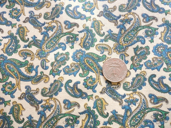 green and blue on beige paisley print vintage cotton blend fabric -- 38 wide by 4 yards