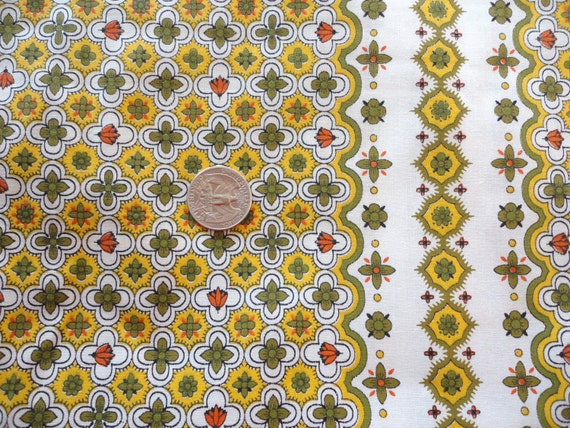 gold and green geometric floral border print vintage cotton fabric -- 36 1/2 wide by almost 3 yards