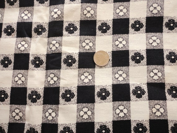 black and cream floral check vintage cotton fabric -- 44 wide by 2 yards