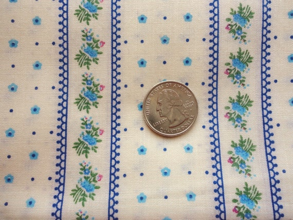 blue and cream floral stripe print vintage cotton/poly fabric -- 46 wide by 2 yards