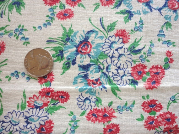 red, turquoise and blue floral print vintage feedsack fabric