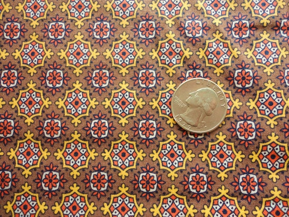 brown, orange and gold geometric floral print vintage cotton fabric -- 36 wide by 3 yards