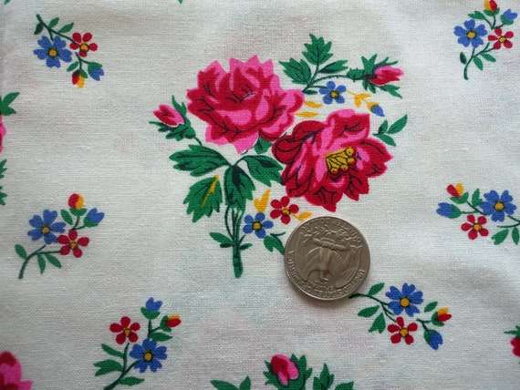 RESERVED FOR BLUEBUTTERFLY -- fushia floral print cotton blend vintage fabric
