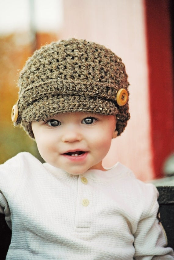 Boys Brown Barley Textured Newsboy Crochet Fall Winter Hat with wood buttons - Baby Toddler Child Size Great Photo Prop