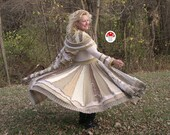 RESERVED For Robin Golden Caramel Elf Coat Size Medium Recycled Upcycled Twirling Sweater Eco Pixie Dream Jacket Fairy Princess Dress Gold