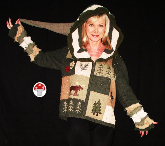 Evergreen Elf Hoodie Cardigan Fairy Zipper Jacket Green Woodland Nature Sweater Plus Size XL Extra Large Acorn Moose Pine Trees Patchwork